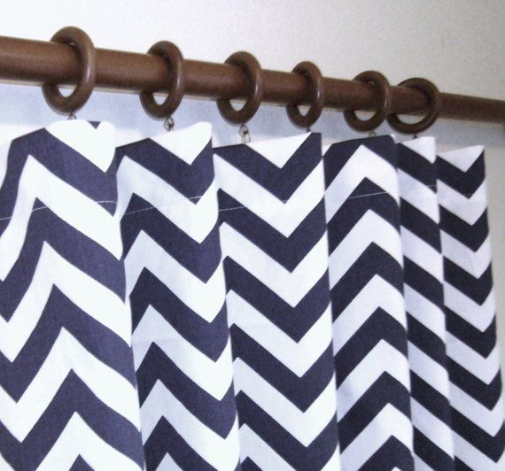 "Pair 25"" Wide Navy Blue And White Chevron Zig Zag ROD"
