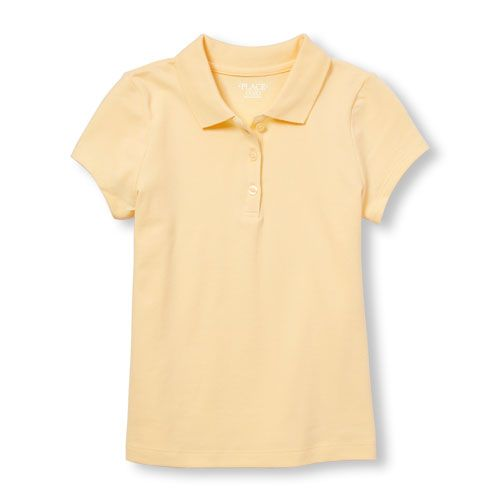 0519efe403ad8 Girls Uniform Short Sleeve Basic Pique Polo - Yellow - The Children s Place