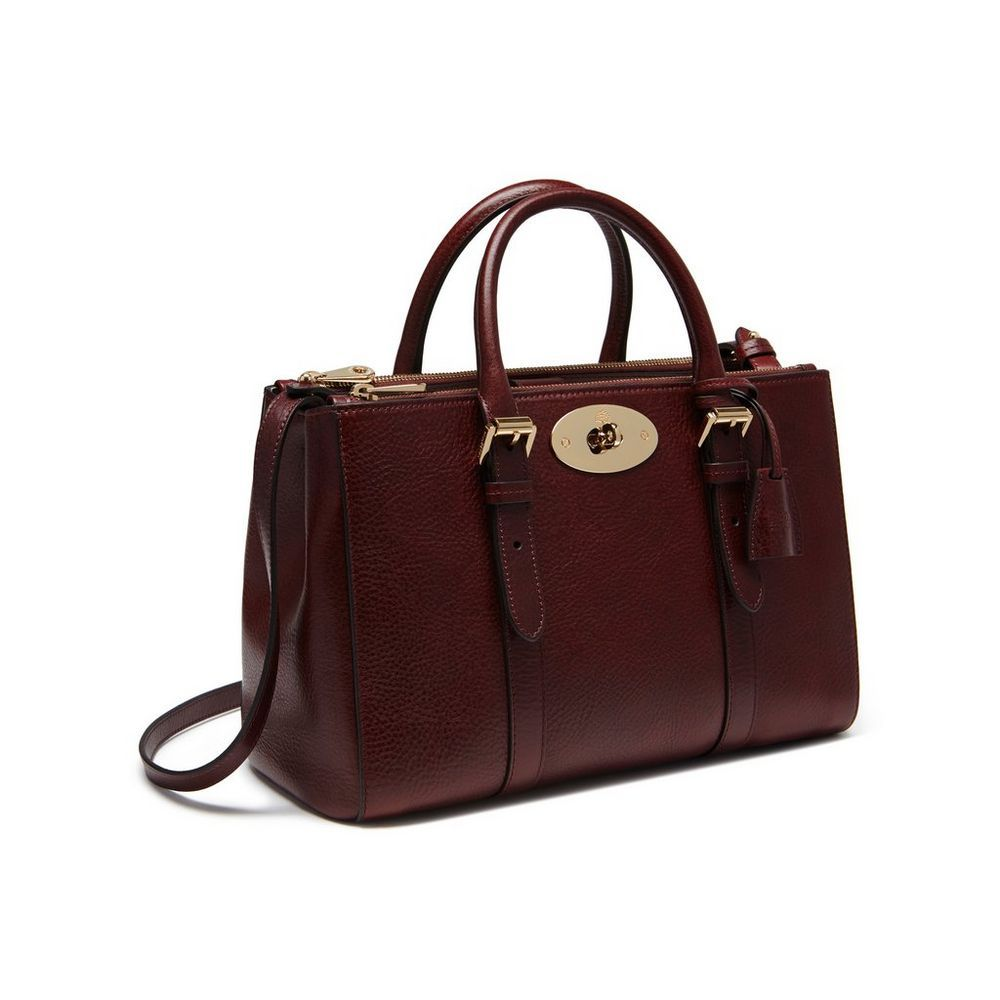 Mulberry Small Bayswater Double Zip Tote In Oxblood Coloured Natural Leather 1900