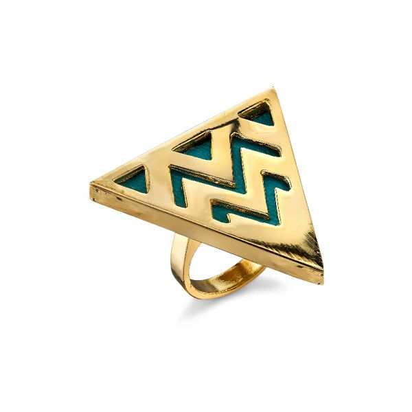 House of Harlow 1960 14KT Gold Triangle Cocktail Ring in Turquoise found on Polyvore