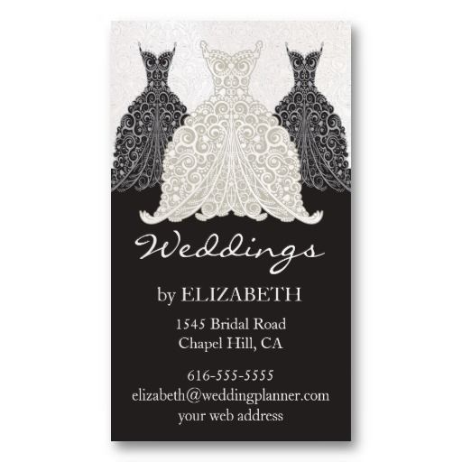 wedding planner business cards black white and platinum wedding planner business card with stylized lacy wedding gown and bridesmaid dresses - Wedding Planner Business Cards
