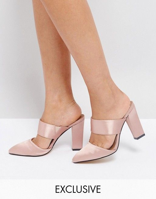 8d841744853 The March Blush Satin Heeled Mules