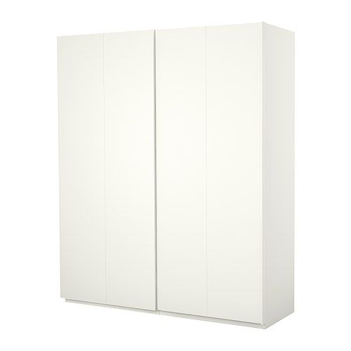 ikea pax wardrobe white with hasvik sliding doors white product dimensions width 59. Black Bedroom Furniture Sets. Home Design Ideas
