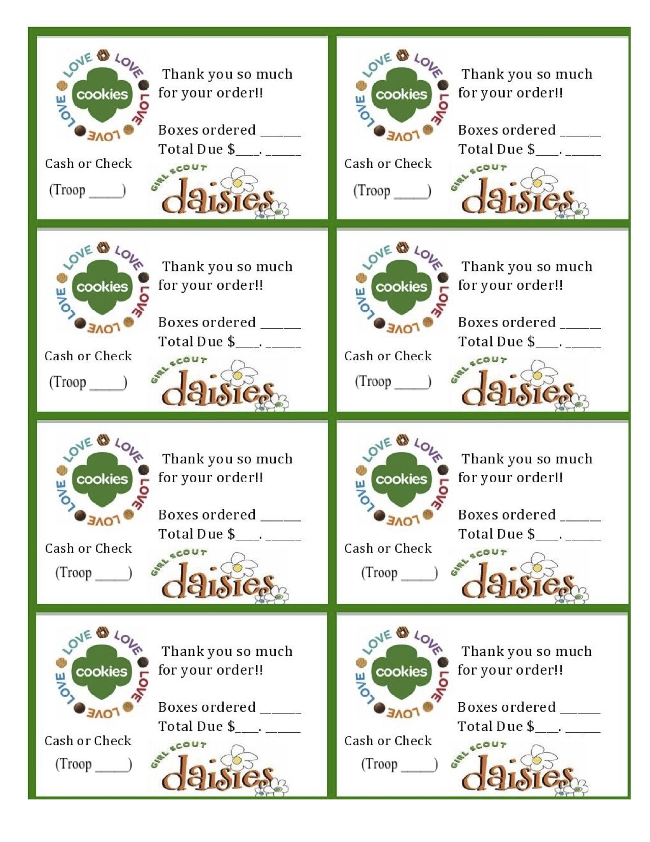 printable daisy girl scouts cookie sales invoice and thank