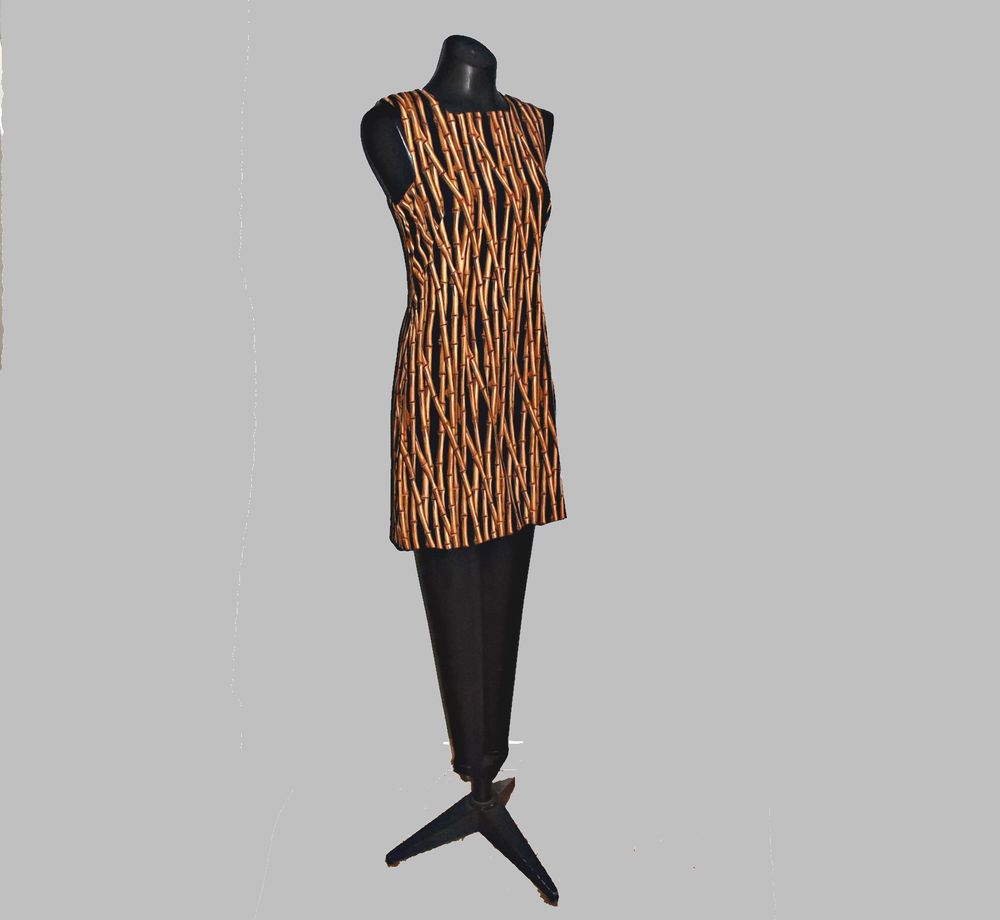 Awesome Nicole Miller Vintage C 1996 Bamboo Novelty Print Dress Size 6