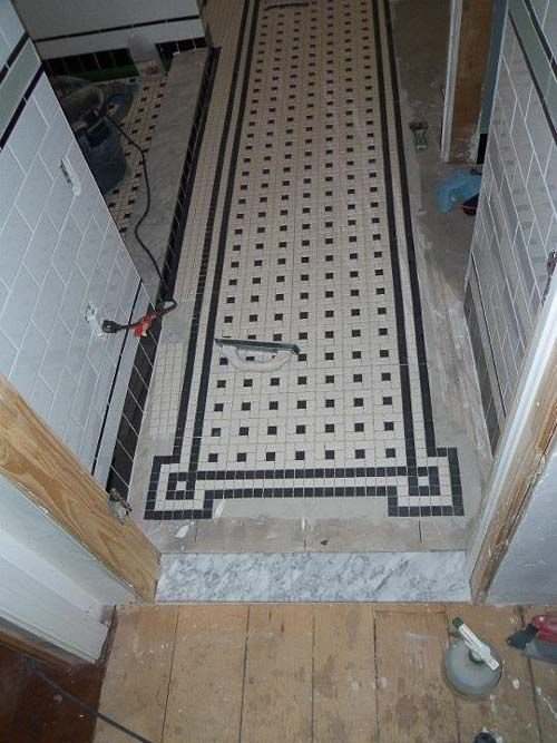 Chris' black and white bathroom remodel - amazing attention to detail - and all DIY! - Retro Renovation