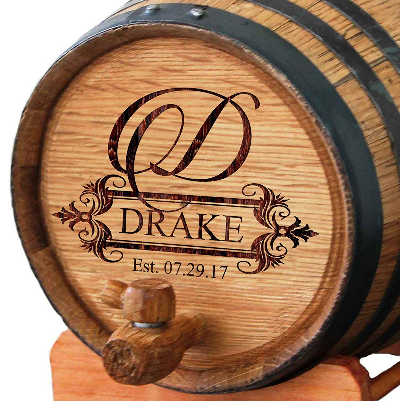 Custom Engraved Oak Whiskey or Wine Barrel 3