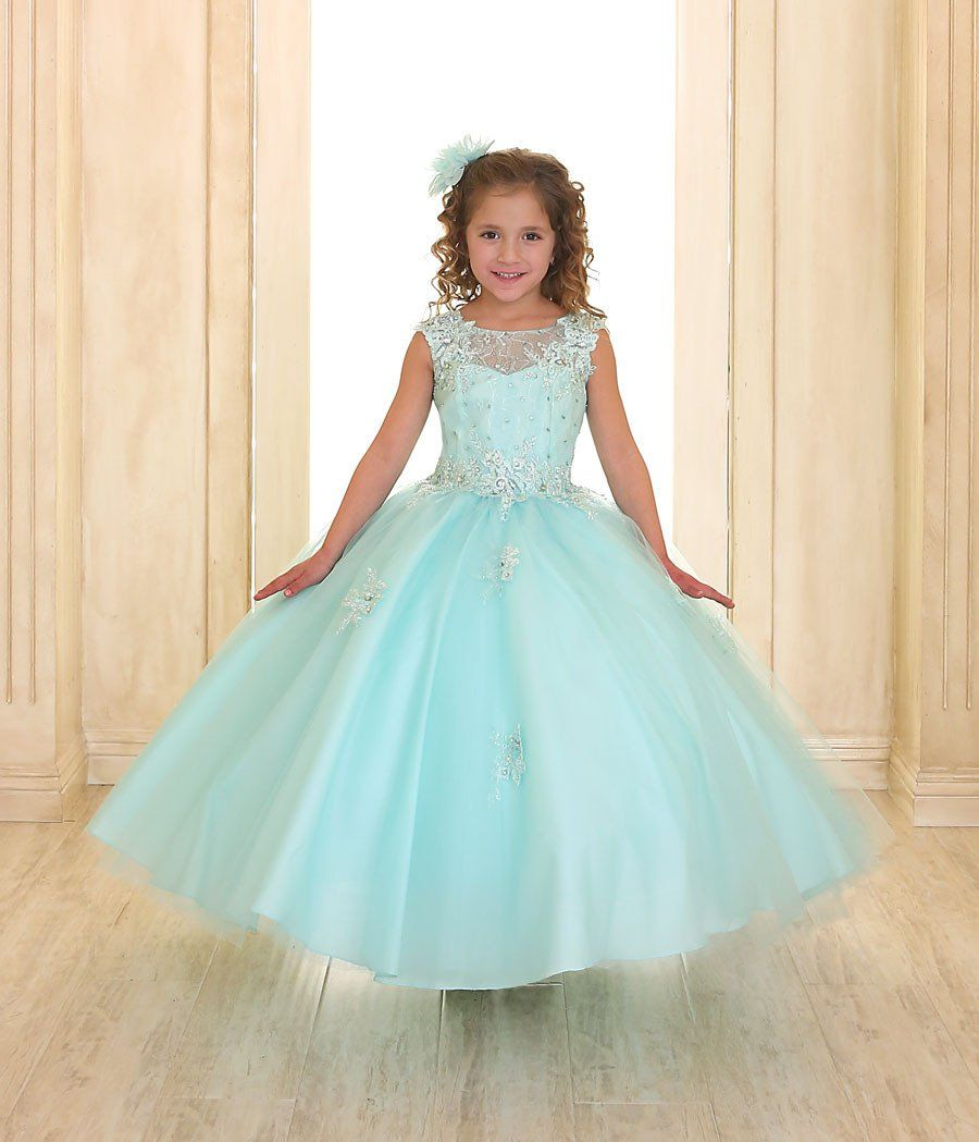 Girls long aline dress with beaded lace bodice products