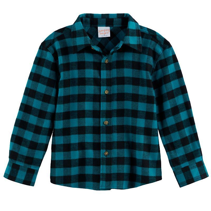 794855f8e Toddler Boy Jumping Beans® Plaid Flannel Button Down Top, Size: 2T, Green