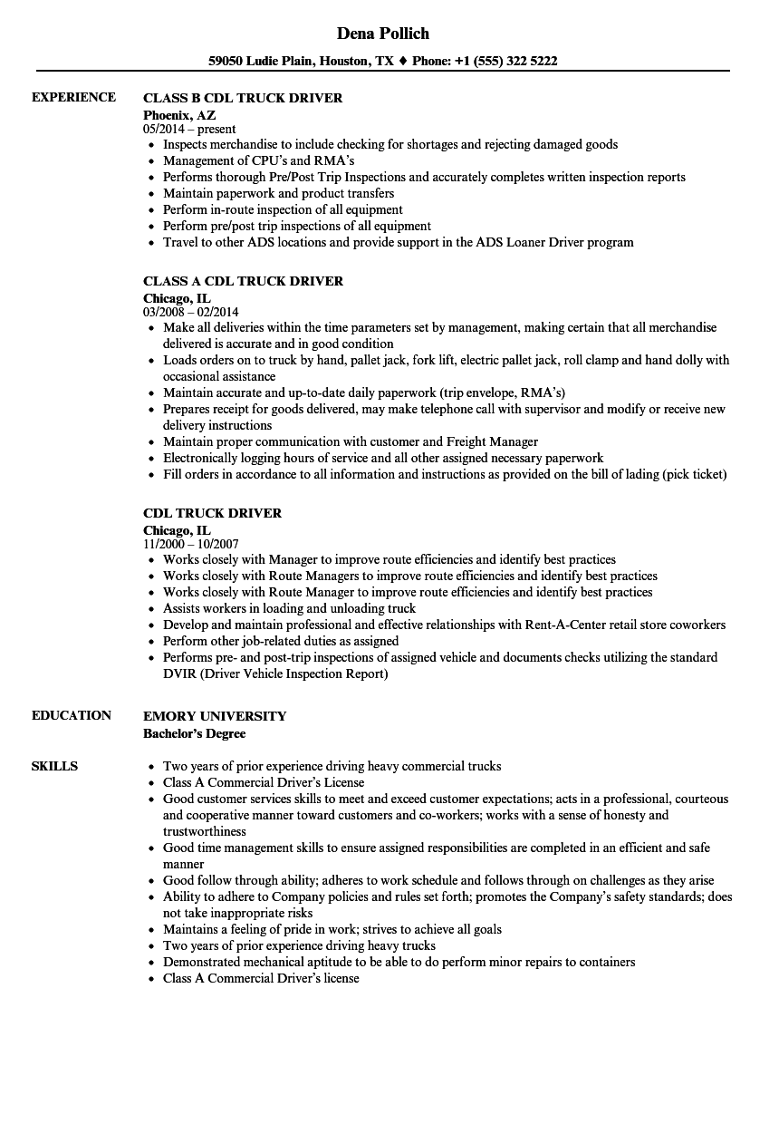 Cdl Class B Resume Examples — Scheduled | Resume Examples ...