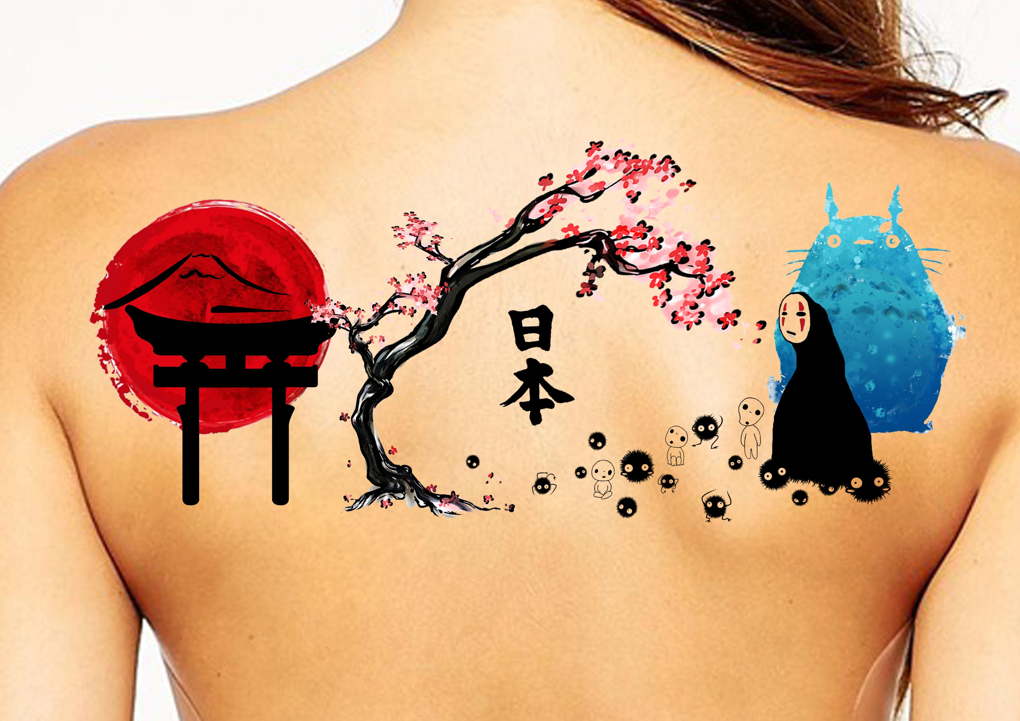Idee Tatouage Japon Dos Cerisier Fuji Tori Soleil Levant