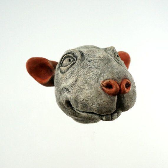 Oddity animal head wall hanging rat year of by olanderearthworks