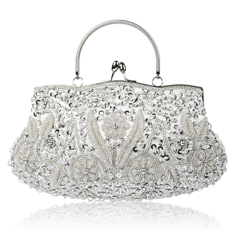 Womens Antique Handmade Beaded Sequined Evening Bag Wedding Party Handbag Clutch Purse