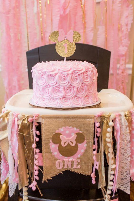 Minnie mouse en dorado y rosa cumplea os repisa ba o y - Decoracion de cumpleanos rosa y dorado ...