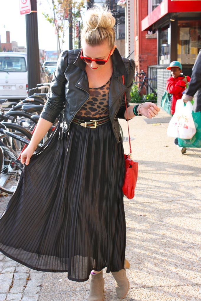 5a67a79f4 leather jacket, maxi skirt, booties | Style | Autumn fashion ...