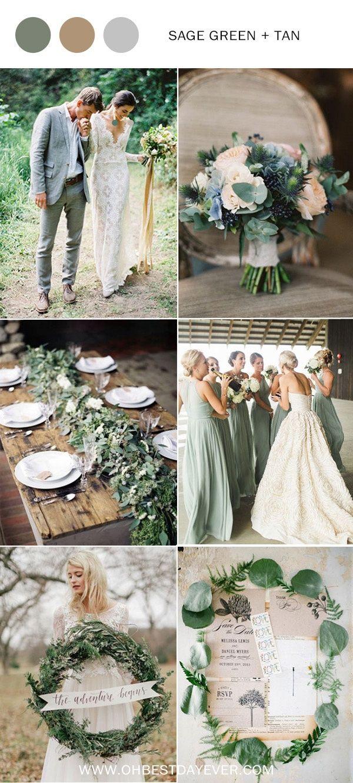 wijze groene en tan huwelijkskleurideeën