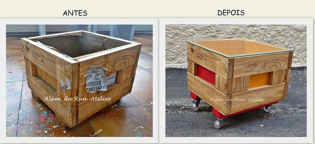 Uma linda mesa, feita com caixote reutilizado – Faça você mesmo