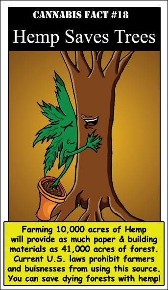 Hemp Saves Trees. Hemp also kills pot, when planted next to one another they cross breed making the marijuana far less potent and eventually in a few generations changing it fully back into hemp. the argument that hemp farmers will hide pot crops is completely wrong! not letting our farmers grow hemp is insane!! ( & I am someone who is wont touch pot.. just so ya know.)