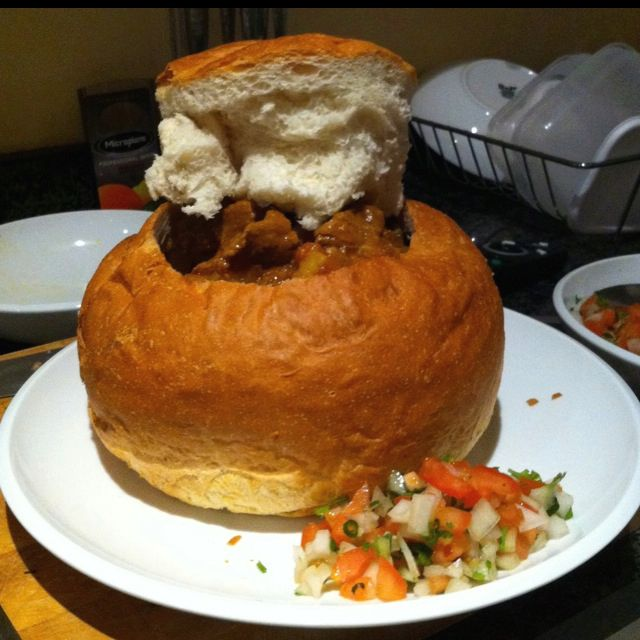 Giant bunny chow with Durban curry