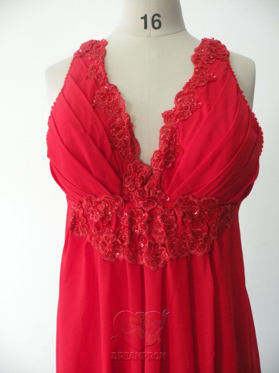 Real Photo Red V Neck Appliques Beaded Backless by angeldreamprom, $132.09