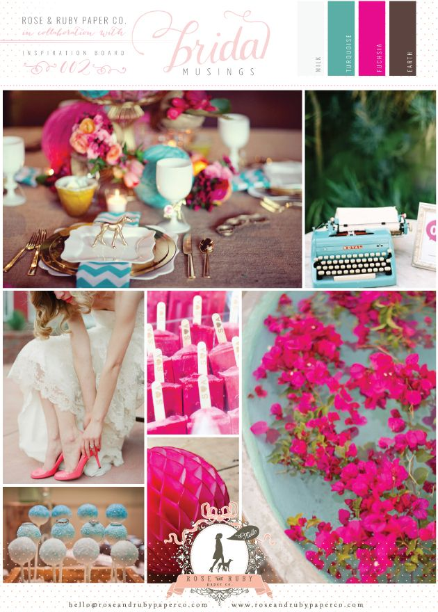 turquoise fuchsia wedding inspiration board by rose murphy
