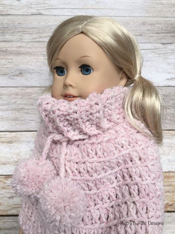 DIY Crochet Pattern – 18 inch Doll Pom Pom Poncho PDF 11 (Fits ...