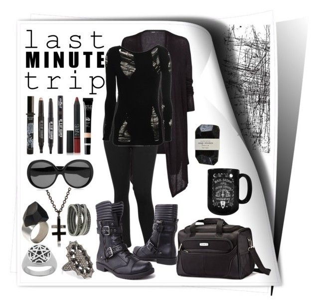 """Just go"" by rowangingerraven ❤ liked on Polyvore featuring Tim Holtz, Samsonite, TokyoMilk, Eyeko, NARS Cosmetics, MANGO, Chris Habana, M&Co, Yves Saint Laurent and Cassia"