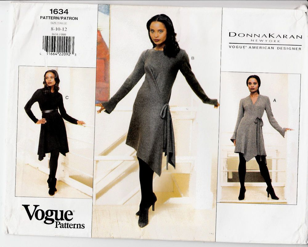Wrap Dress Pullover Donna Karan Vogue Sewing Pattern 1634 Szs 8-12 ...