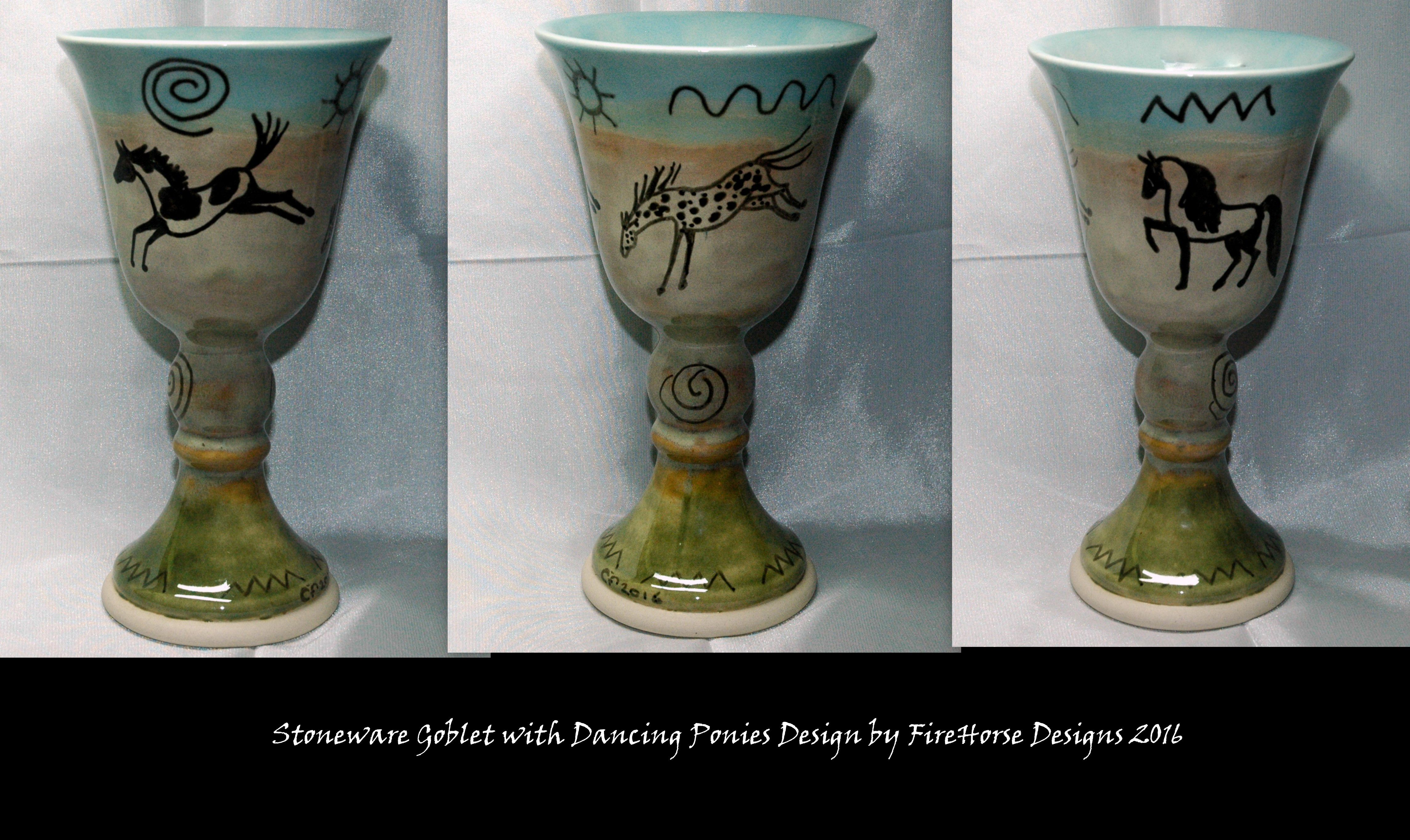 Stoneware goblet with dancing ponies design by FireHorse Designs