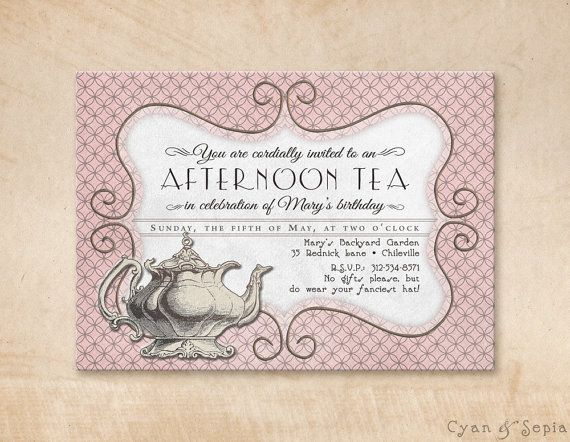 Charming Little Tea Party Invitation Featuring A Gorgeously Detailed Vintage Tea Pot Set Against A Whimsica Tea Party Birthday Tea Party Tea Party Invitations