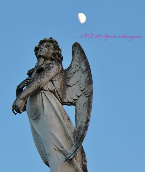 Angel Looking at Moon New Orleans Cemetery Photography
