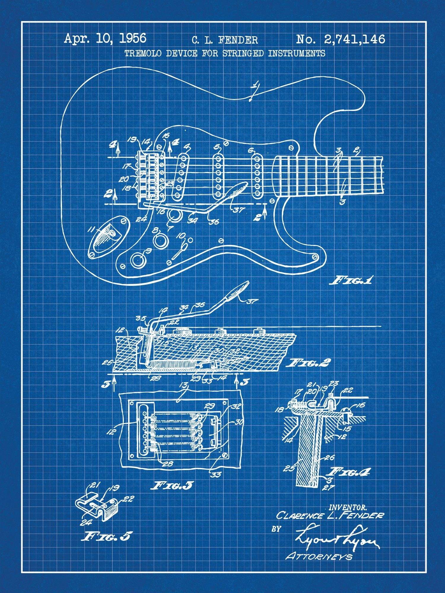 Fender Stratocaster Guitar Blueprint Graphic Art Poster In