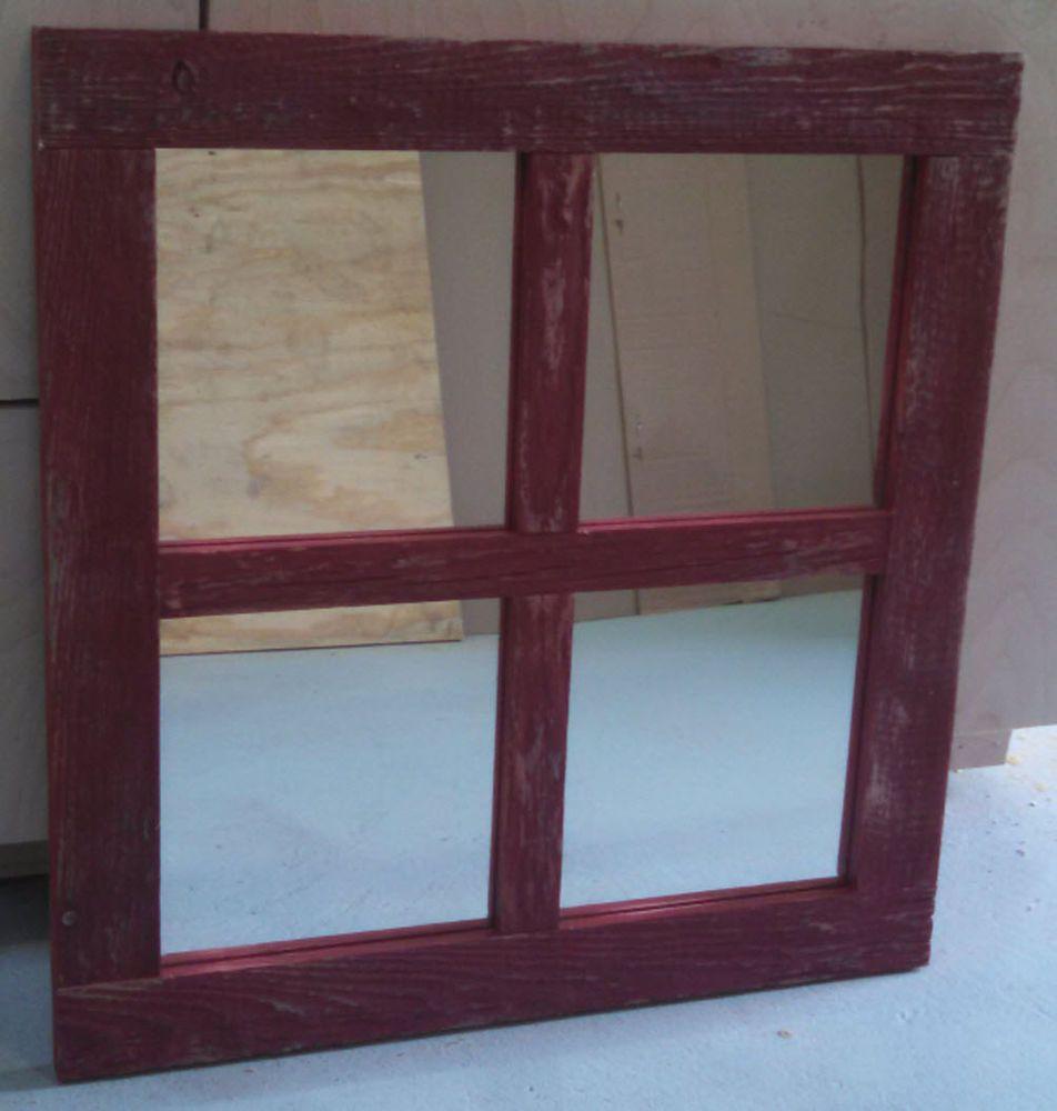Barn Wood 4 Pane Window Mirror Wall Hanging Weathered Red Rustic 19x20 Mirror Custom Mirror Barn Wood Frames Barn Wood Mirror Wall
