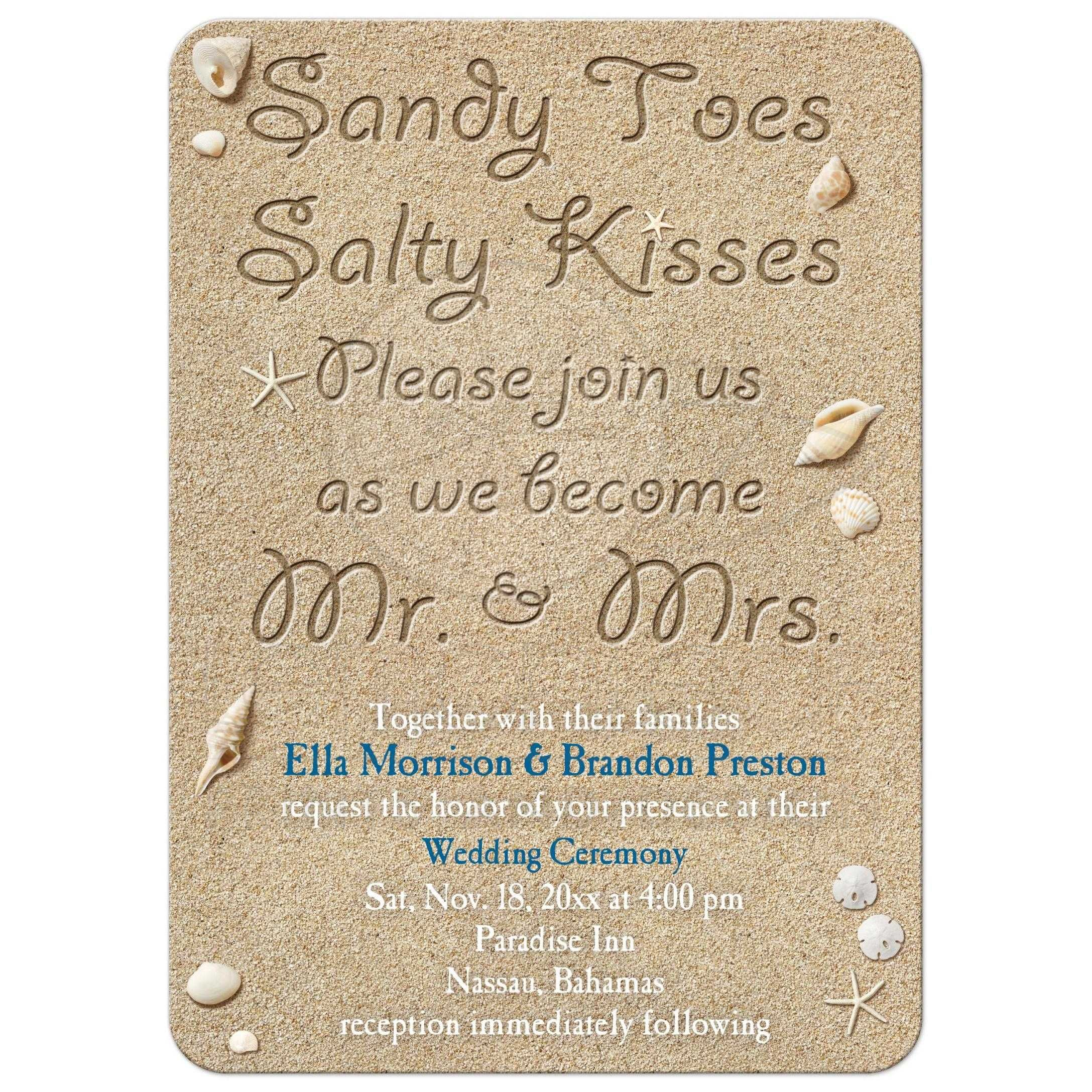 Wedding Abroad Invitation Wording Ideas: Wedding Invitation - Beach Sandy Toes Salty Kisses