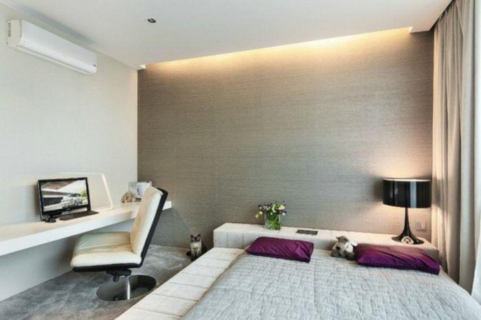 Schlafzimmer Beleuchtung ~ Grau und brauntöne im modernen schlafzimmer indirekte