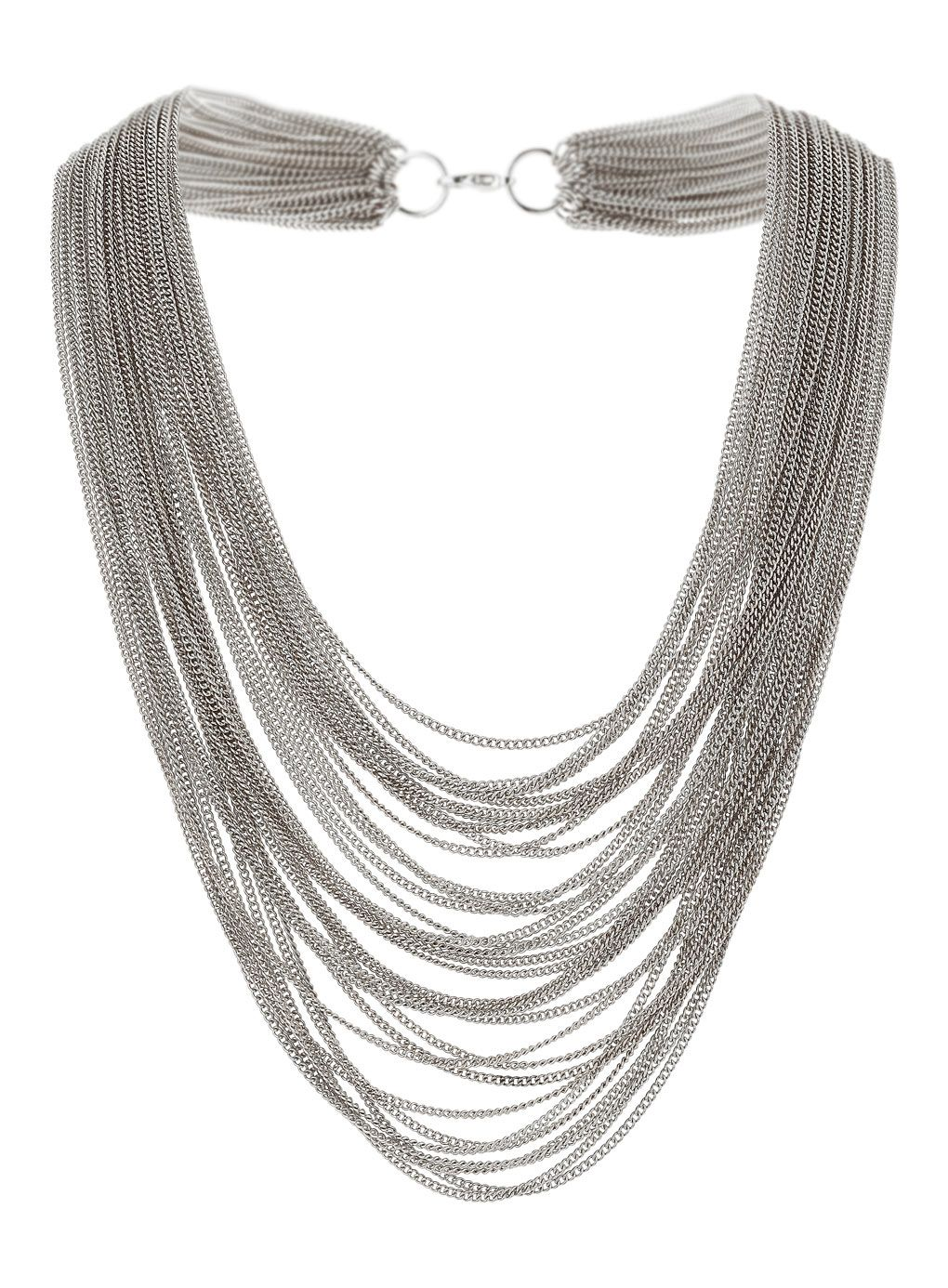 Silver tone multi row fine chain necklace.