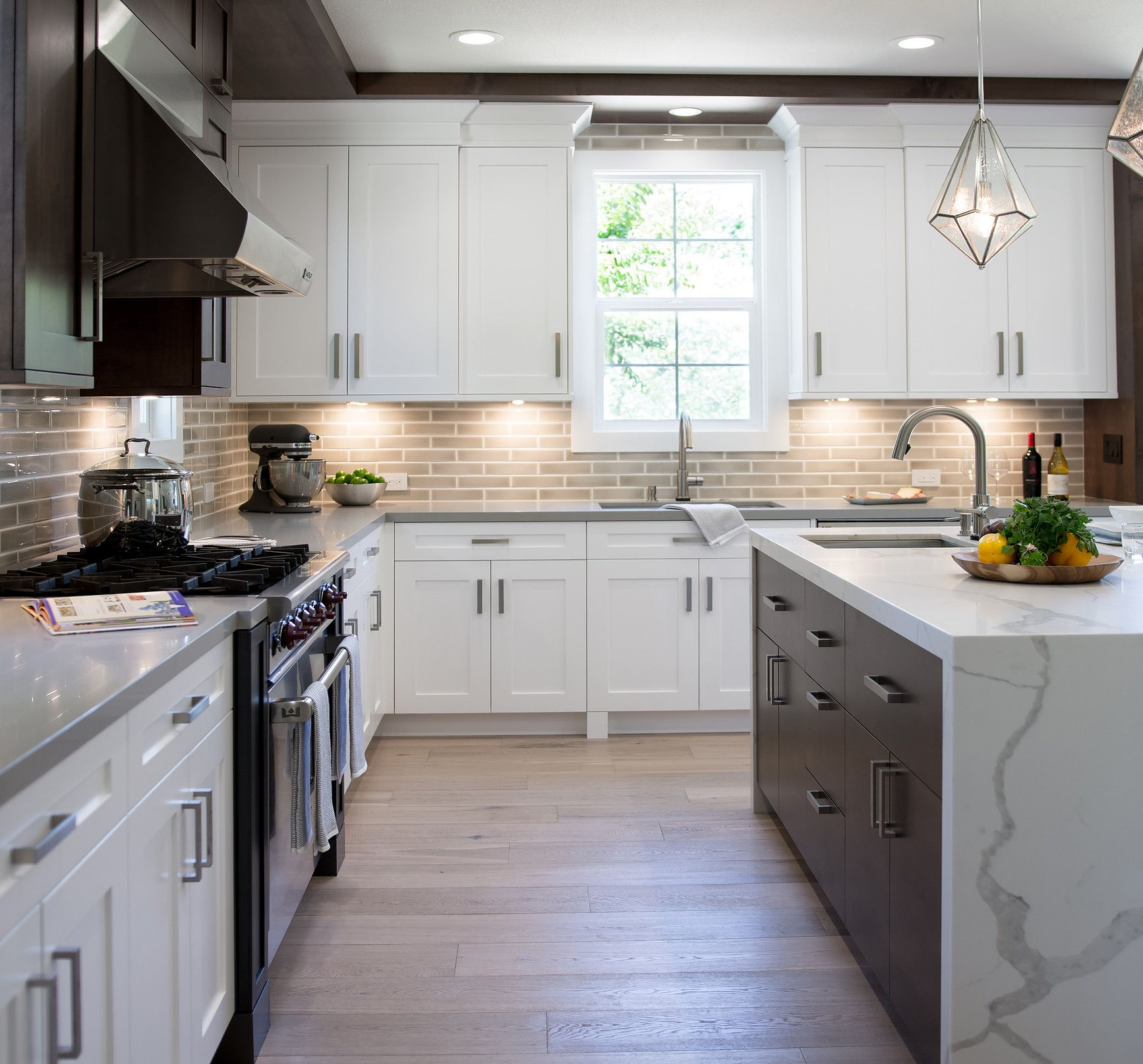 White Shaker Cabinets Mixed With Modern Flat Panel Dark Wood