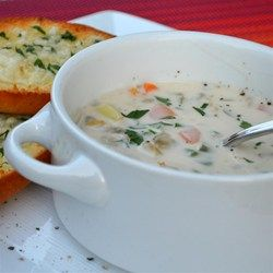 My Best Clam Chowder - Allrecipes.com : Add 4 slices of bacon, cook onions in drippings. Alternatively use 5 cans of whole baby clams. Yum!