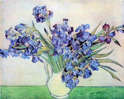 Irises 2 by Van Gogh Vaas met paarse irissen tegen roze achtergrond SAINT REMY mei 1890