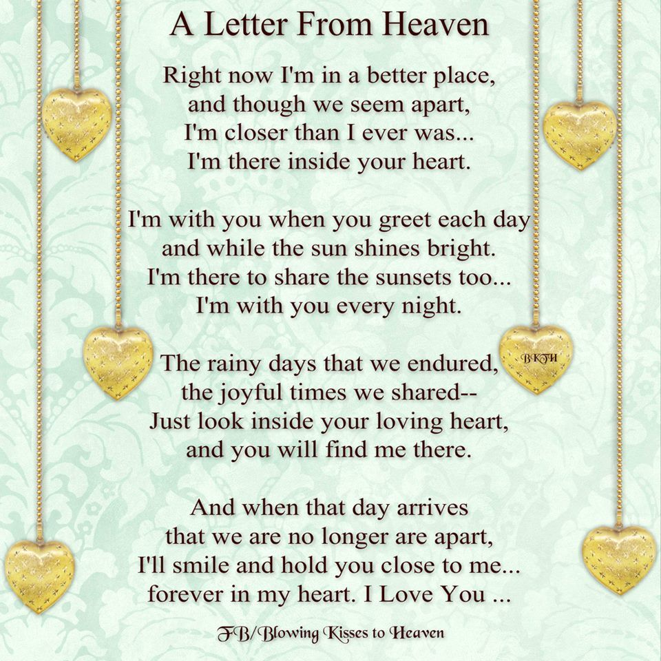 A letter from heaven missing you pinterest heavens for Poems about fishing in heaven