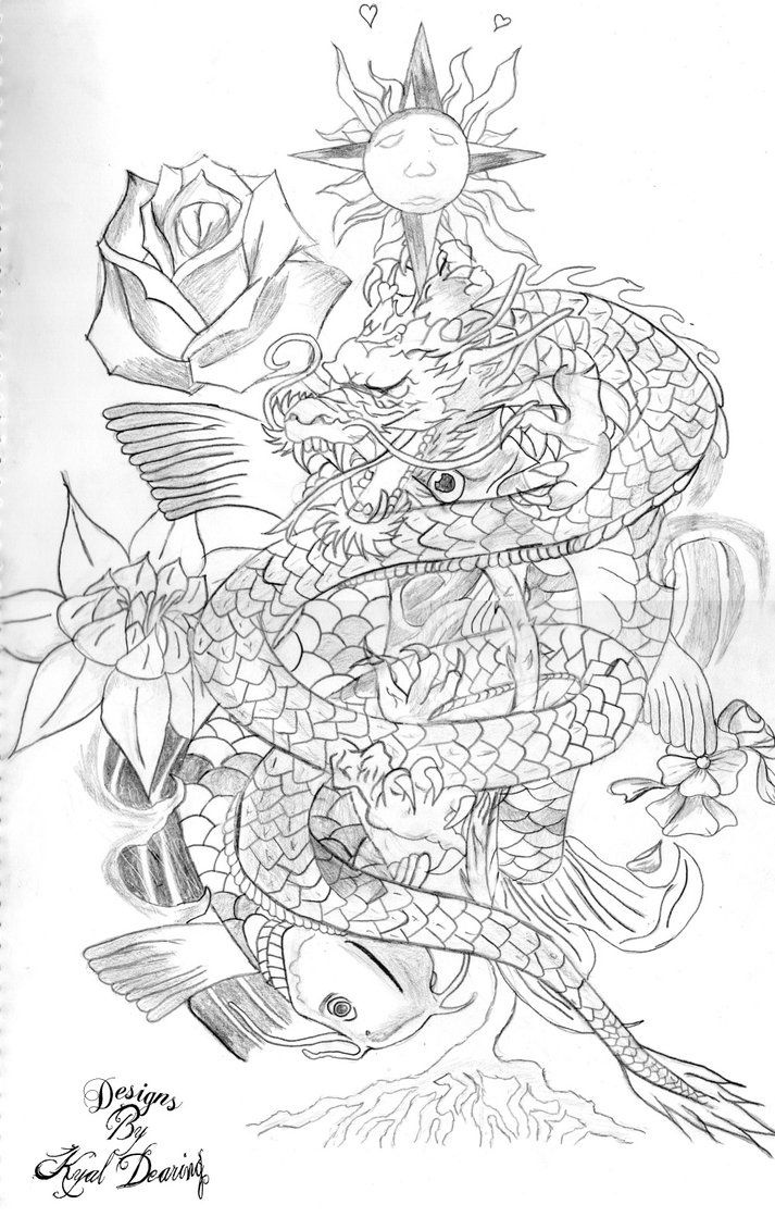 Dragon koi lotus tatto design ink pinterest tatto for Black dragon koi