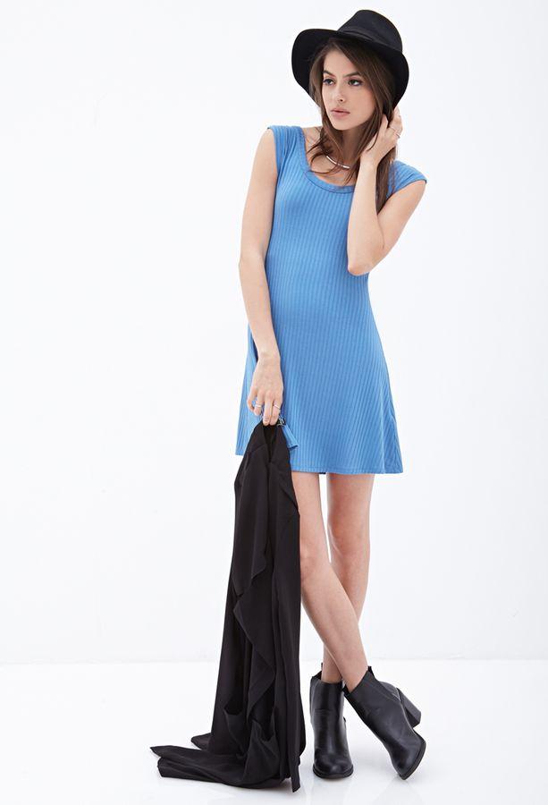 $9, Light Blue Skater Dress: Forever 21 Ribbed Skater Dress. Sold by Forever 21. Click for more info: https://lookastic.com/women/shop_items/283651/redirect