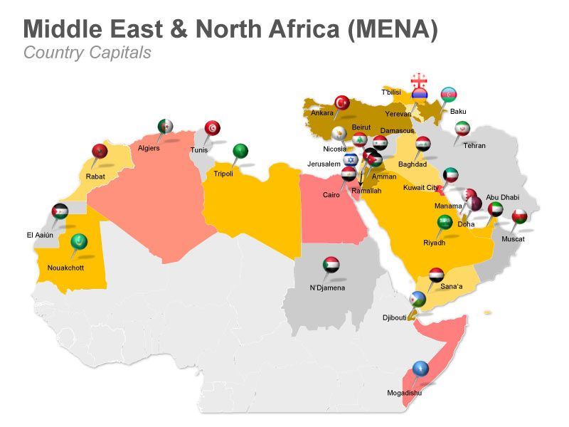 Editable PowerPoint Map MENA Middle East and North Africa