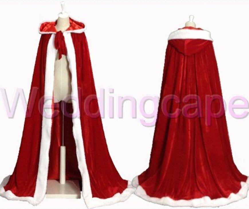 3b7e0a87564 White Faux fur Red Velvet Hooded Cloak Christmas Coat Santa Cape Costume  S-6XL
