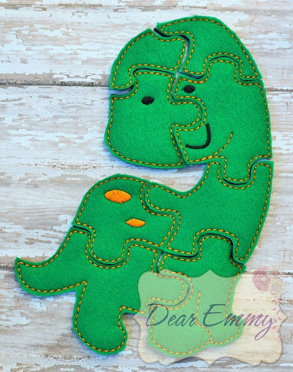 This listing features a green felt dino puzzle. This puzzle is 2 layers of felt, with a different, coordinating color as the back so it's easily distinguishable from the front of the puzzle. They are perfect for travelling, restaurant outings, doctor's appointments, and tons of other activities. They are very light and portable. They would also make a wonderful party favors for a child's birthday party, wedding reception, or baby shower.