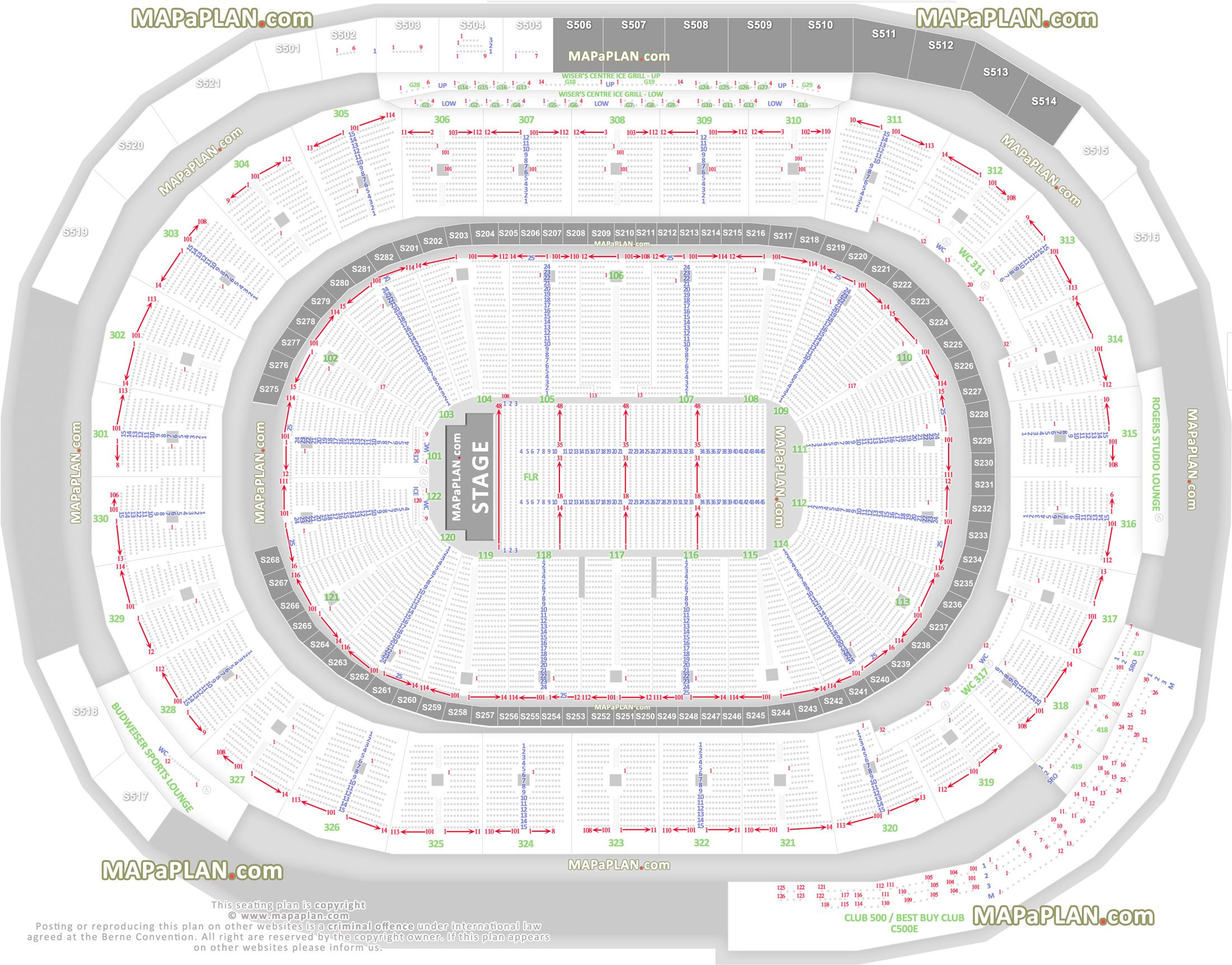 detailed seat row numbers end stage full concert sections floor plan arena lower upper bowl layout