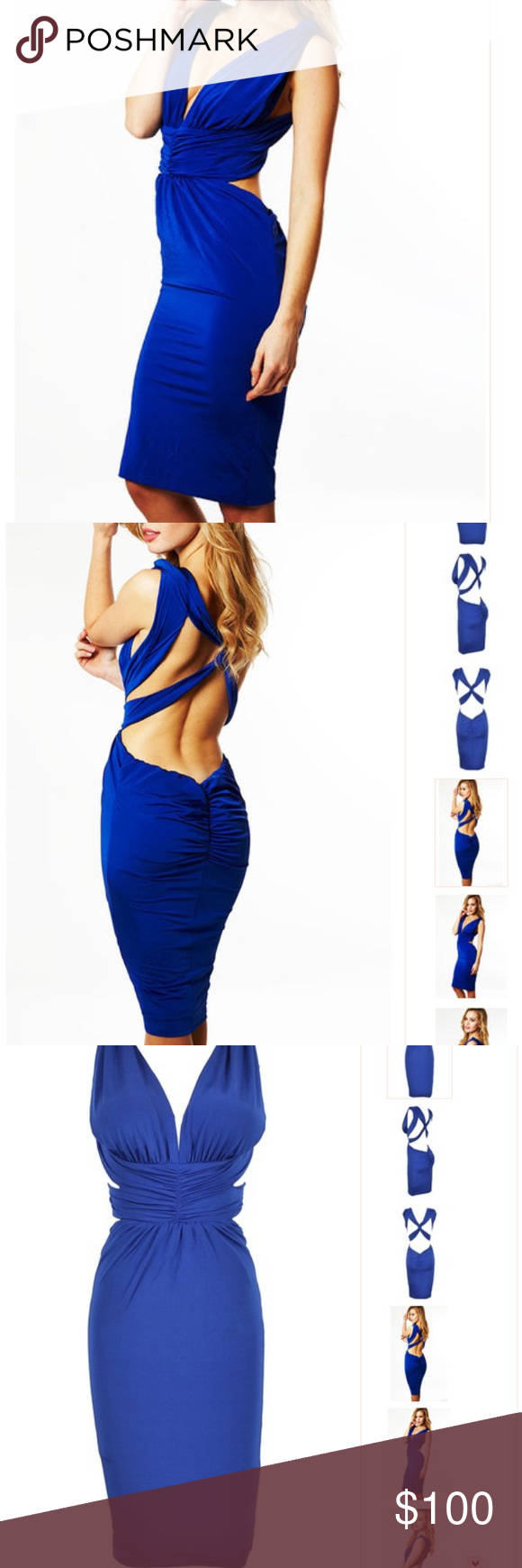 House of CB Chelsea Dress Cobalt Blue Backless Bodycon dress.  Only worn a few times.  I'm about a 4/6 so not sure if I ordered the S or M. Celeb Boutique Dresses Backless