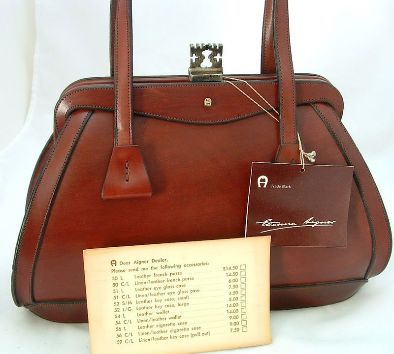 ea3b9b567d0f 1964 VINTAGE  Etienne Aigner Oxblood RED Handbag Purse~NEW WITH TAGS ...