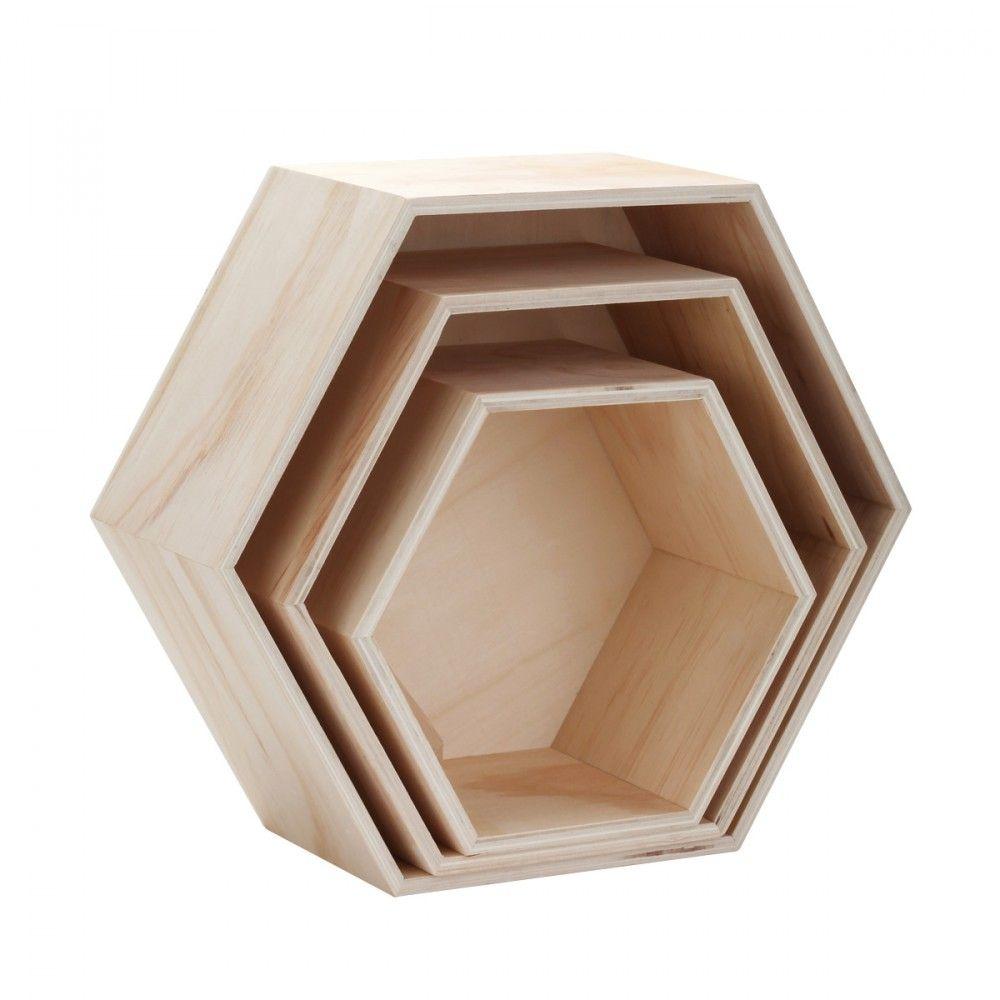 3 Etageres Hexagonales En Bois Etagere Hexagonale Hexagonaux Bois