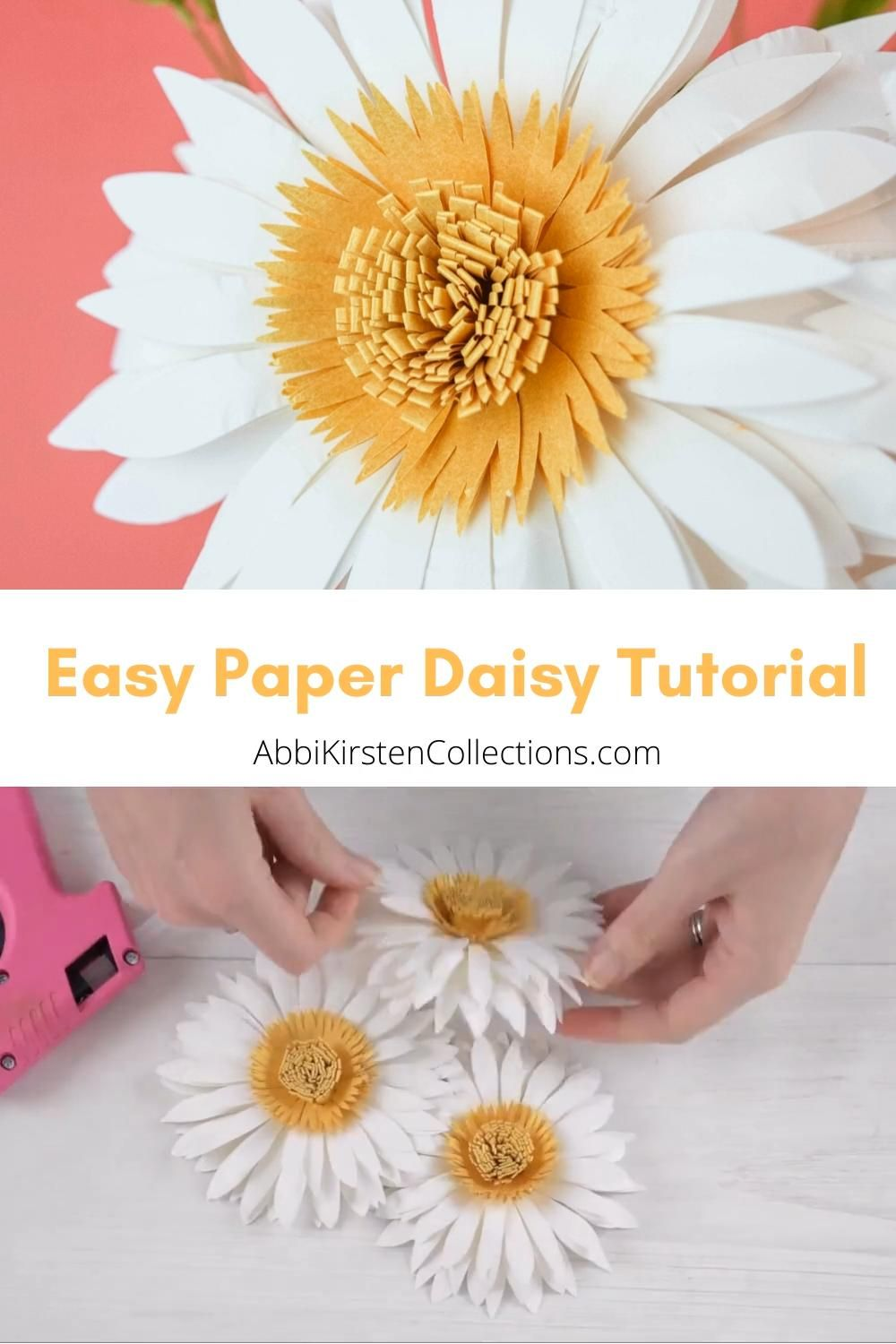 Learn how to make your own paper daisy flower blooms with this step by step tutorial. Download the templates to create your own with scissors or a cutting machine. Download flower templates here.